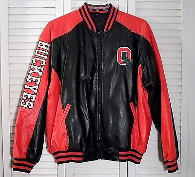 OHIO STATE BUCKEYES Football Varsity Style Jacket Size L Red & Black GREAT!