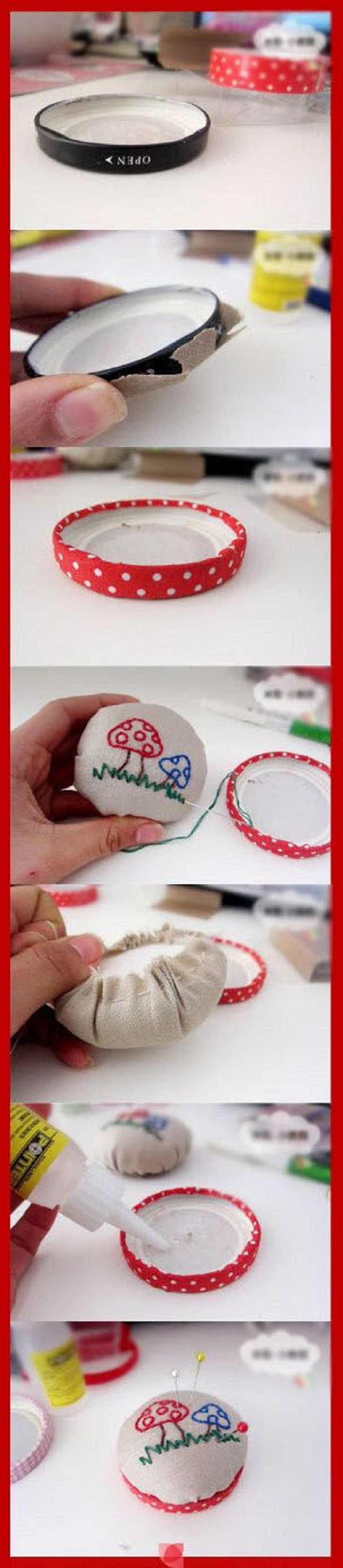 Make pincushion with jar lid. Top 10 DIY Sewing Projects