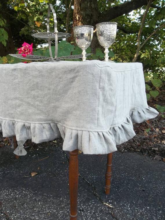 custom fitted ruffled tablecloth linen slipcover tablecloth linen rh pinterest com