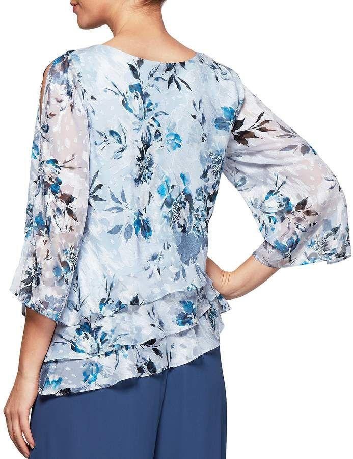 b8efce1b930b77 Alex Evenings 3 4 Sleeve Asymmetrical Triple Tier Floral Print Chiffon  Blouse  Asymmetrical