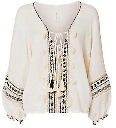 coolchange Embroidered Lace-Up Caftan