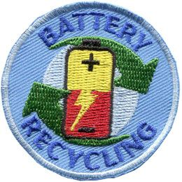 Battery, Recycle, Environment, Green, Patch, Embroidered Patch, Merit Badge, Badge, Emblem, Iron On, Iron-On, Crest, Lapel Pin, Insignia, Girl Scouts, Boy Scouts, Girl Guides