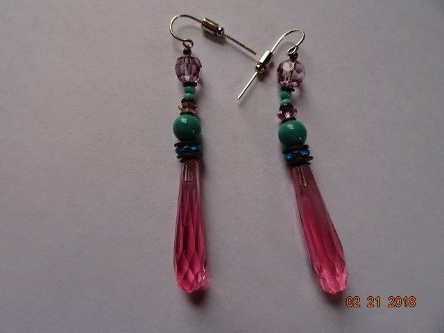 Vintage Pink Turquoise Faceted Crystal Bead Dangle Drop Earrings