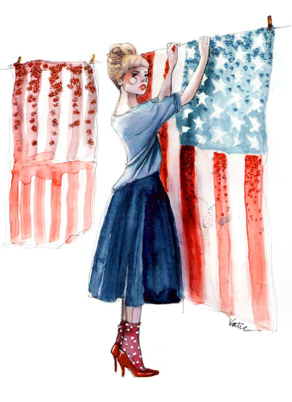 America.Blessed America, American Woman, Red White Blue, Paper Fashion, Art, Paperfashion, God Blessed, Fashion Illustration, American Dreams