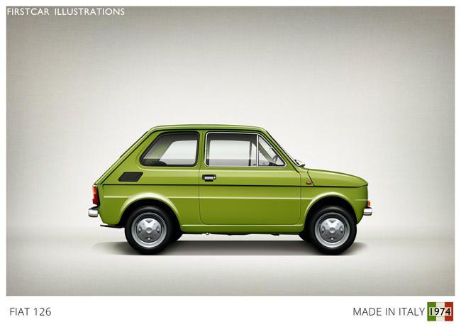 Firstcar Illustrations | Personalized Car Illustrations | Fiat 126 1974