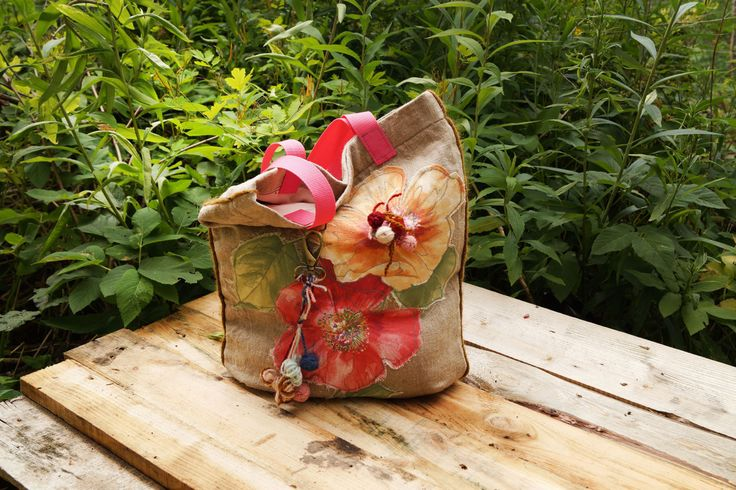 Boho Style Flax bag Women Bag Uncommon Bag Handmade Bag Linen bag shoulder bag unique bag purse bag school tote pink rose bucket bags by Malikdesign on Etsy