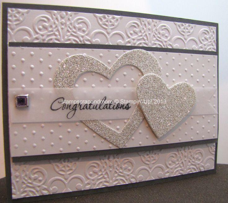 A classic wedding card using embossing folders