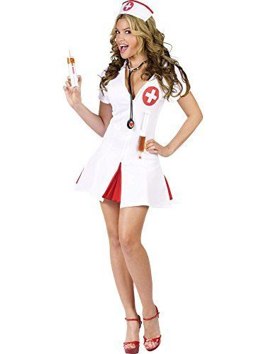 This short white Naughty Nurse Halloween Costume is super sexy and playful. I love the short white and red dress / skirt. Say Ahhh! Sexy Nurse Costume