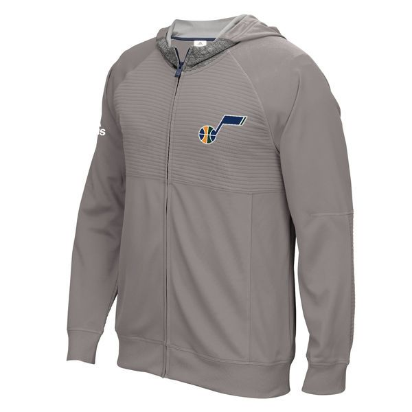Utah Jazz adidas 2016 Pre-Game Full-Zip Hooded Jacket - Gray - $84.99