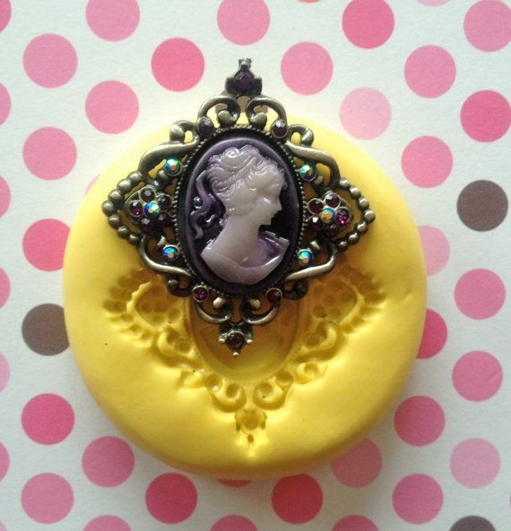 Victorian Lady Cameo Mold/ Kawaii Cupcake Topper, Craft Scrapbook Decor, Chocolate, Candy, Cake Decoration, Fondant Mold, Gum paste, Decoden