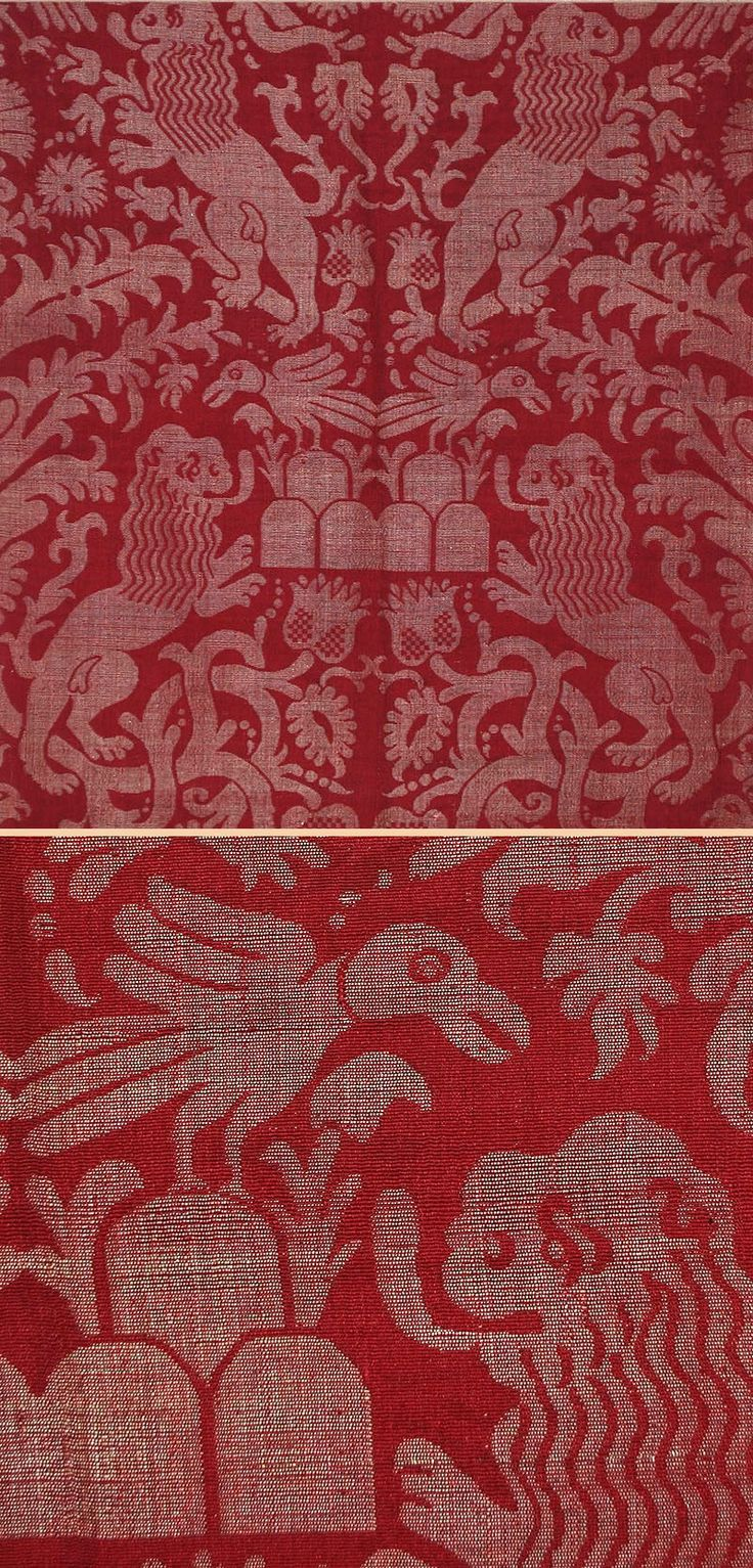 Antique Italian Textile, Silk Damask Brocade, 16th Century