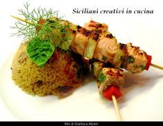 Spiedini di salmone e ananas con cous cous alle verdure - Roasted ananas and salmon with veggie cous cous