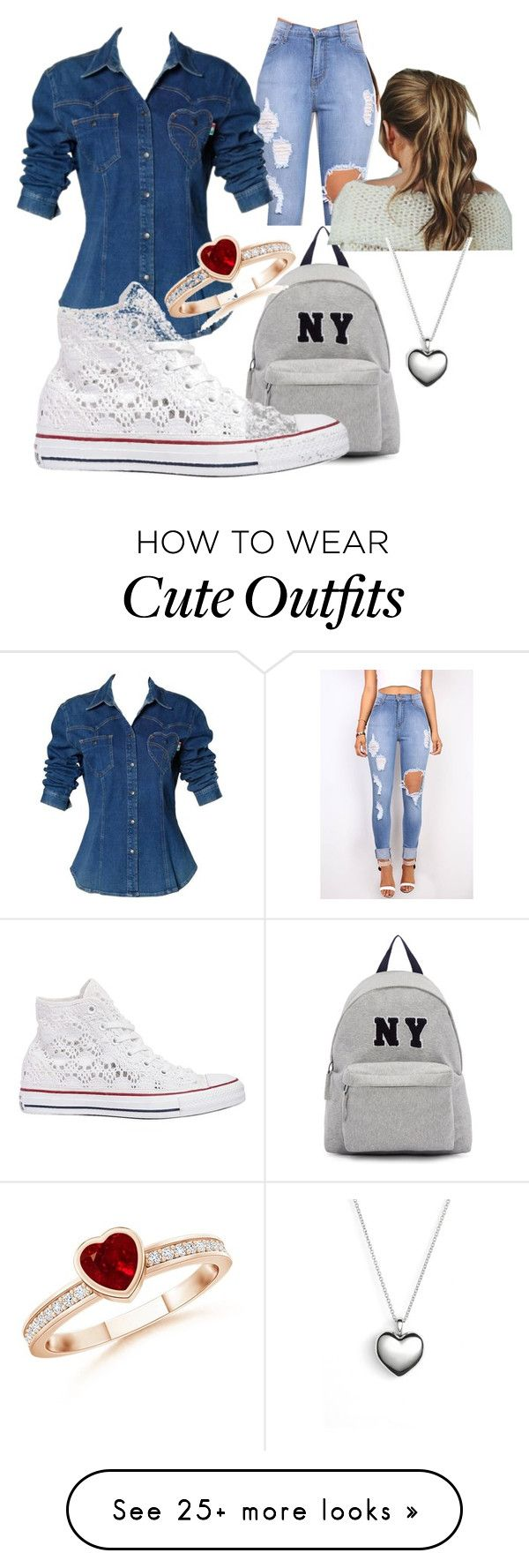 """""""A Cool School Outfit"""" by teddymdbear on Polyvore featuring Moschino, Joshua's, Converse, Pandora, women's clothing, women, female, woman, mis…"""