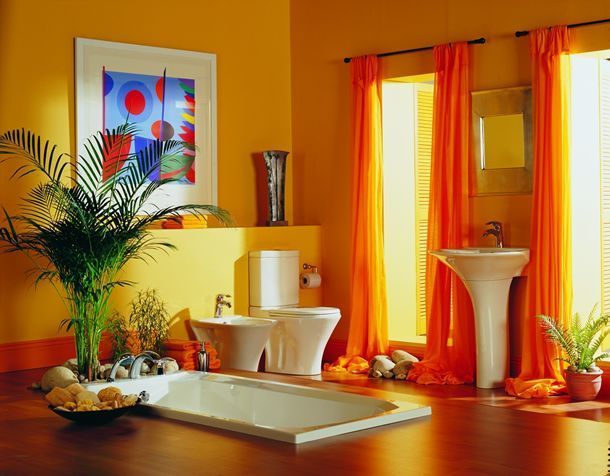 Beautiful bath...colorful with dramatic finishes