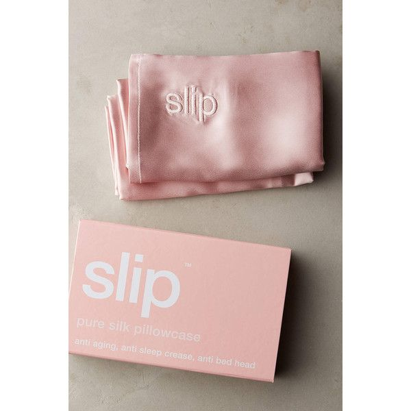 Slip Pure Silk Pillowcase ($79) ❤ liked on Polyvore featuring home, bed & bath, bedding, bed sheets, pink, silk bedsheets, pink pillow cases, silk pillow case, silk bed linen and pink bedding