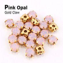roze opaal steen naai de strass kristal klauw 5mm6mm7mm goud strass diamant stenen en kristallen jurken voor kleding decoratie(China (Mainland))