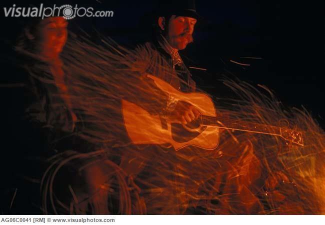 campfire guitar paintings | Cowboy and cowgirl, Douglas Lake Ranch, Nicola Valley, British ...