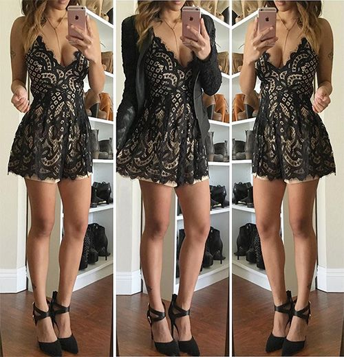 Hello, hottie! Make everyone jealous of how amazing you look in this beautiful, deep v-neck, lace romper!