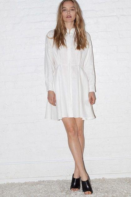 White Linen Short Shirt Dress