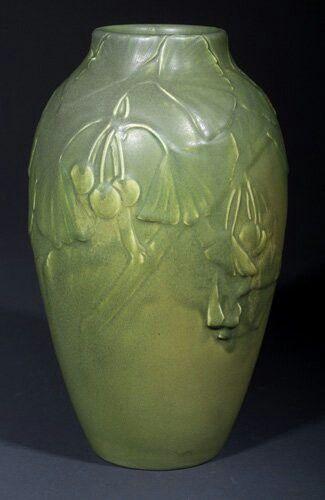 ~Rookwood~Artist: Kataro Shirayamadani~Circa 1905~Carved Gingko Leaves & Berries-Mat Glazed Ovoid Vase~