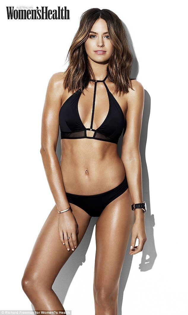 Simply stunning: Jesinta Campbell sizzles in a black bikini in photo shoot accompanying her Women's Health cover