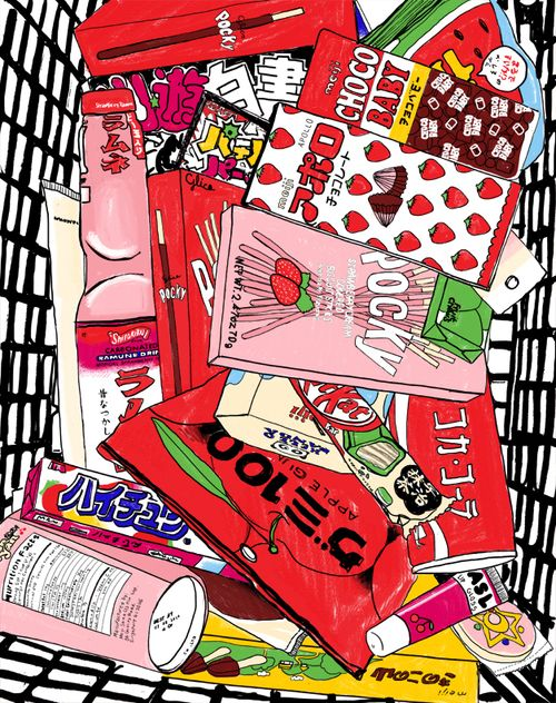 Image; Japanese Food Packages. TRADEMARKED ™.  Information; Andrew's inspiration came Japan. Whether it's huge cityscapes, a bottle of ketchup or even a delicious biscuit, he is constantly striving to document these things in a bright and striking manner. COPYRIGHT ©