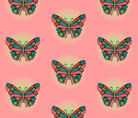 Big Hearted Butterflies fabric by quirkyhappyart on Spoonflower - custom fabric