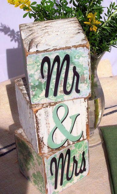 DIY wedding decor: Mr and Mrs blocks.