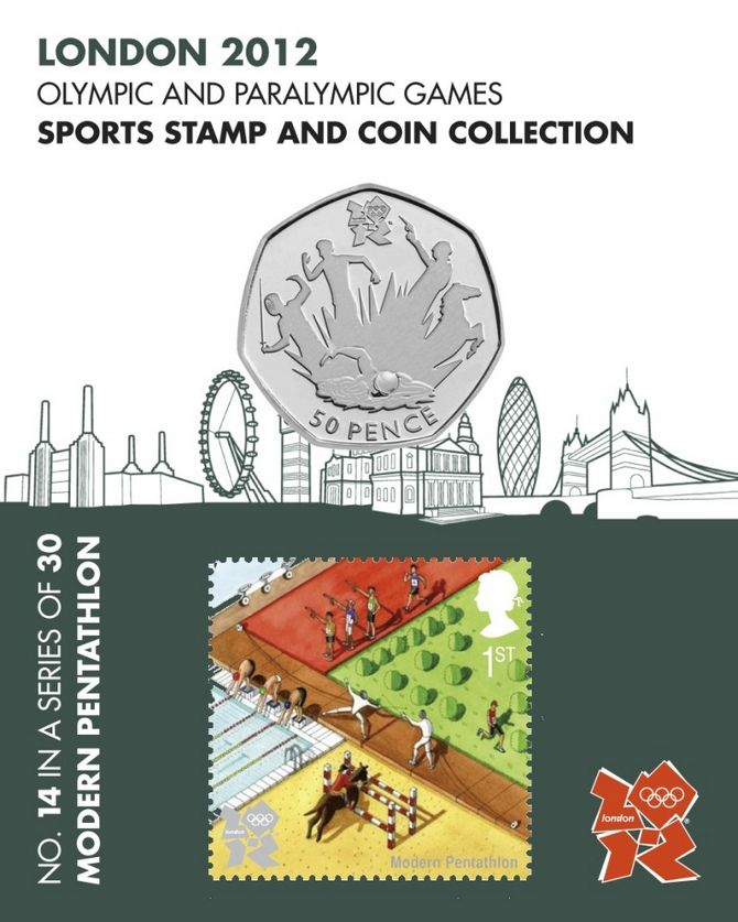 Modern Pentathlon Sports 50p Coin & Sport Stamp - London 2012 Olympic Games No.14 #FineGifts #London2012OlympicCoins