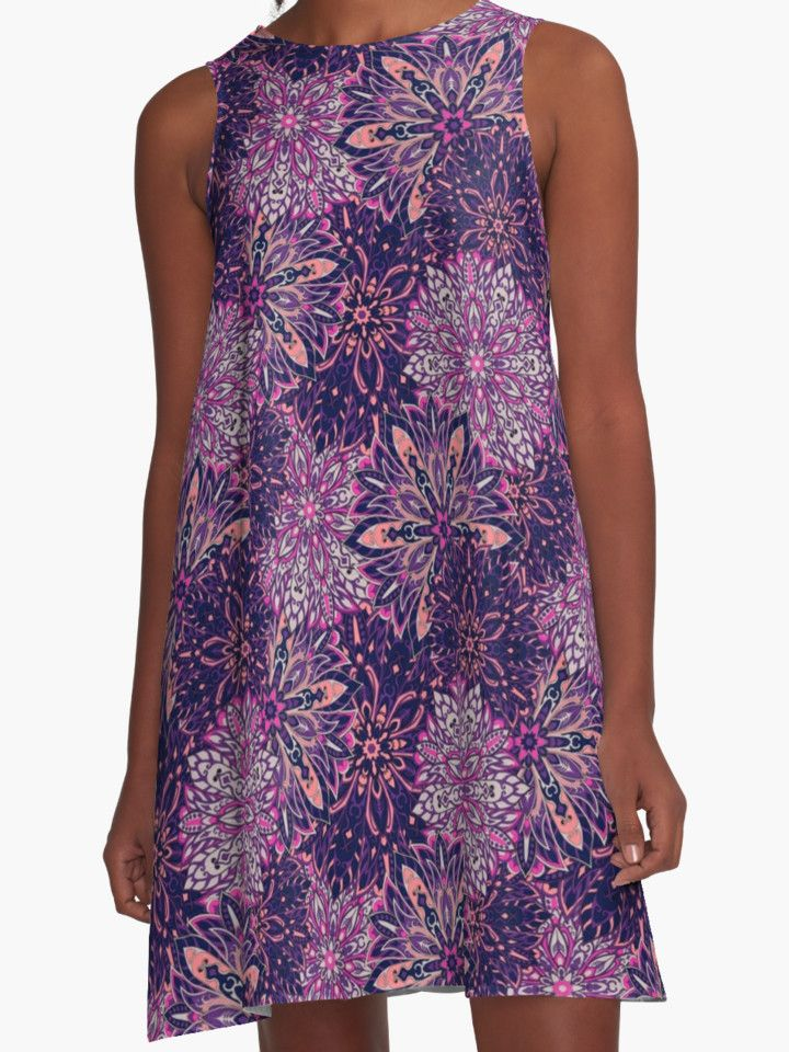"""Purple Complicated Mandala. Tribal style."" A-Line Dresses by kakapostudio | Redbubble"