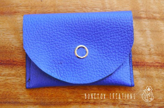 Small blue leather handmade pouch with press stud. by BoneFox