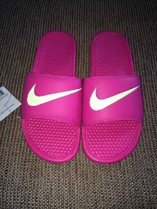 12df17e1212c Nike Benassi Swoosh Slide Sandals Womens Vivid Pink Volt NWT Close ...