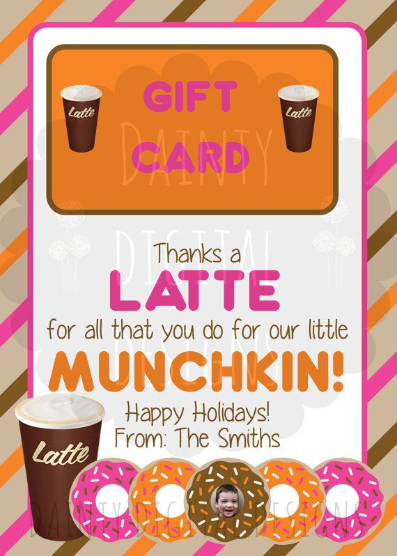 Thanks A Latte 5X7 Printable Teacher Thank by DaintyDigitalDesigns