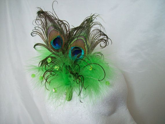 Bright Apple Lime Green Peacock Feather & by IndigoDaisyWeddings