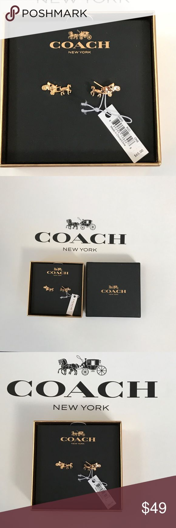 "Coach Horse & Carriage Women Small Stud Earrings NWT Authentic COACH Carriage Earrings F54895 in Rose Gold w/ Coach Gift Box.  Style# F54895.  MSRP $65.  100% Authentic Brand new with tag Coach's signature horse and carriage logo with hang tag Rose Gold Approximately 0.4""H x 0.75""W Includes Coach gift box & jewelry care card Coach Jewelry Earrings"
