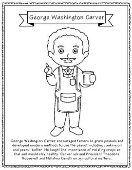 George Washington Carver Coloring Page Craft Or Poster STEM Technology History