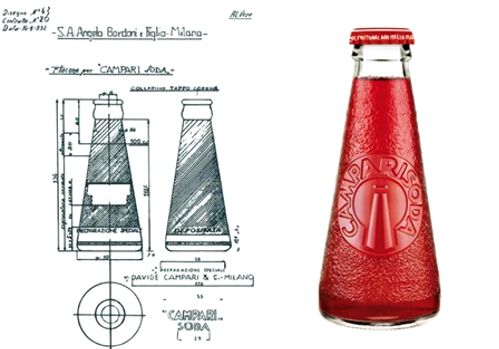 Campari Soda. The famous bottle. Camparino born from the pencil of Fortunato Depero, one of the greatest artists of Italian Futurism. Futurists relationship between art and industry.
