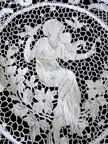 "Maria Niforos - Fine Antique Lace, Linens & Textiles : Antique Linen # LI-320 Exquisite 142"" Banquet Tablecloth w/ Figurals , Bobbin & Reticella Lace"