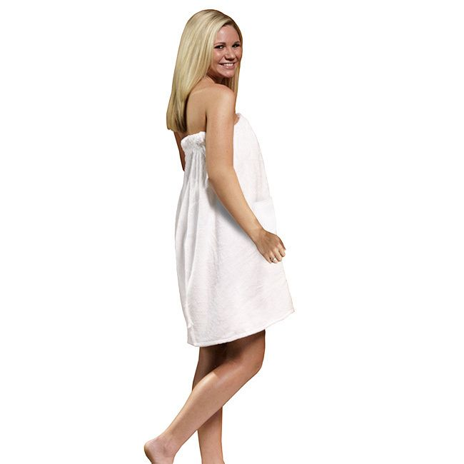 Relax in your sauna or step out of a shower in this luxurious velour terry cloth body wrap. This thick, 100-percent cotton towel will wrap you in warmth while absorbing moisture, and the elastic adjus