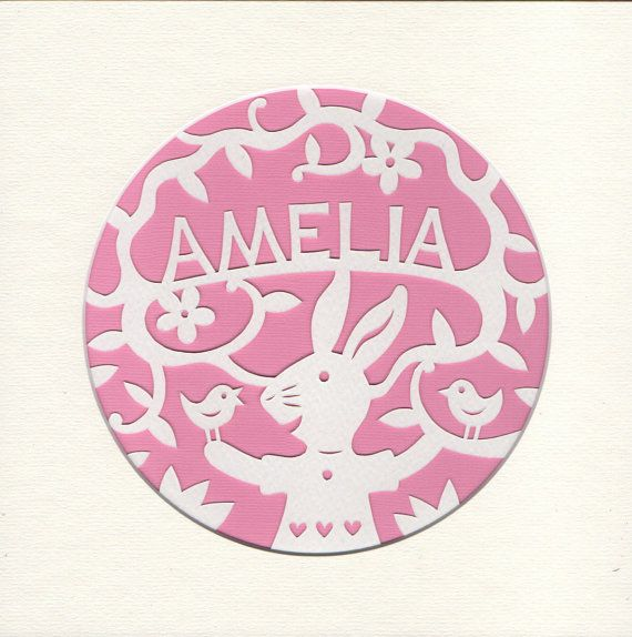 Papercut Baby Name Art Woodland Bunny Custom by GeraldHawksley