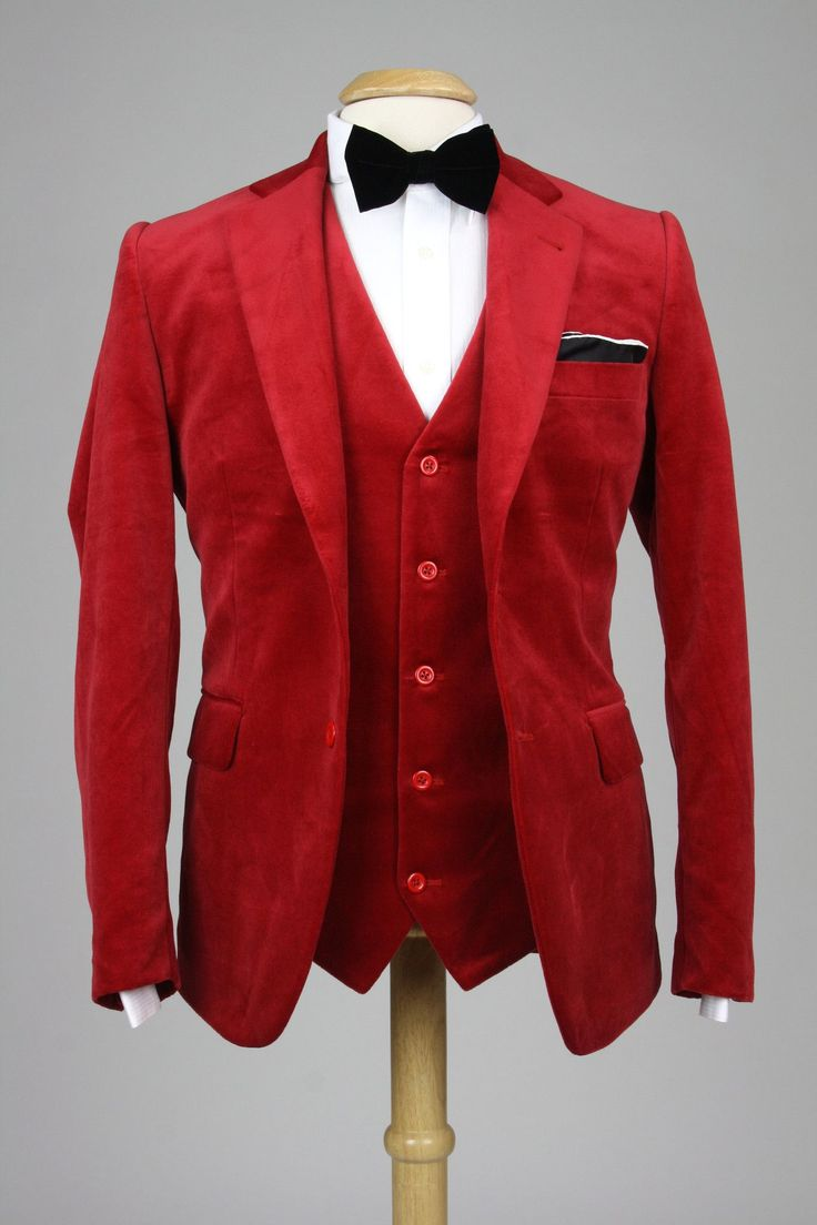 Cranberry Velvet Handmade Slim Fit 3 Piece Suit 42 R Monkey Suits #MensFashionTrendy