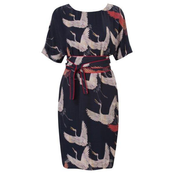 Kimono jurk met ceintuur Blauw