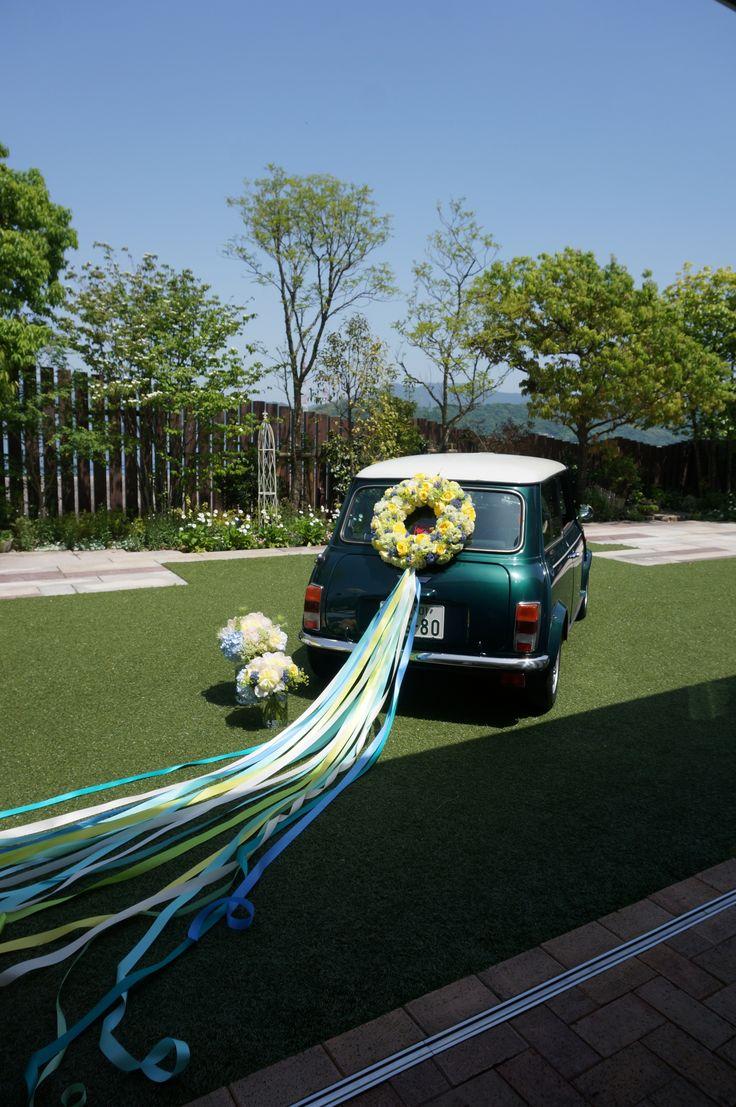 Wedding car flower decoration images  Easton EventsHomestead Charm Charming Blue Vintage Getaway Car