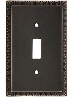 Renovation Hardware. Egg & Dart Design Toggle Switch Plate In Solid Brass
