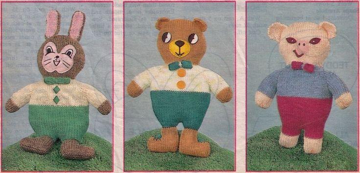 VINTAGE BEST OF FRIENDS ANIMAL SOFT TOYS SET 3 30 CM TALL 8 PLY KNITTING PATTERN
