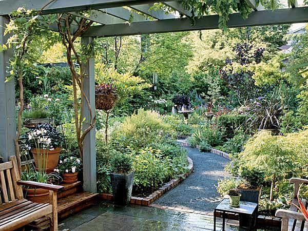 Wisteria-covered pergola garden entrance