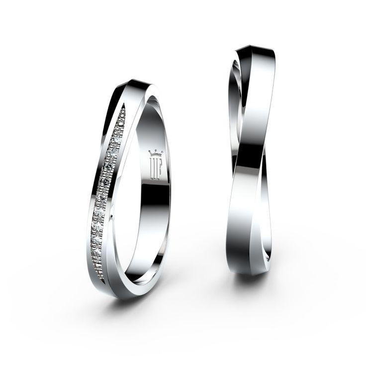 Snubní prsteny ze stříbra s brilianty, pár - 3017 - Snubní prsteny Danfil