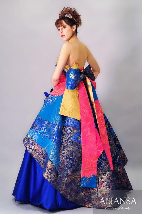 和ドレス 着物ドレス 青・金色のAライン