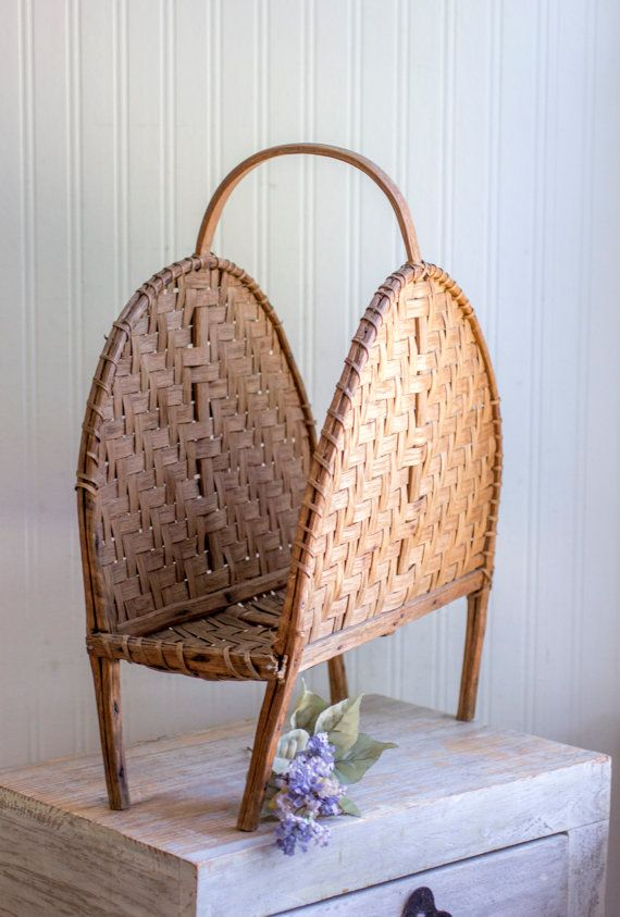Vintage Magazine Holder Rattan Storage Tropical Home by MollyFinds