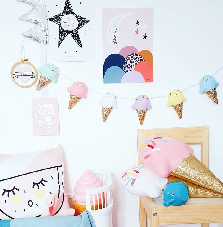 "111 Likes, 6 Comments - J e s s • Noodle doll Nelly • (@noodledollnelly) on Instagram: ""Our Ice cream garland and cushions have been super popular lately! Perfect for your little persons…"""